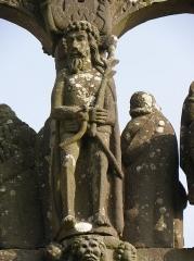 Chapelle Saint-Sébastien, arc de triomphe, calvaire et placître - Ecce Homo du calvaire de la chapelle Saint-Sébastien en Saint-Ségal (29).