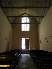 Ancienne collégiale, actuellement église Sainte-Marie-Madeleine - Intérieur de la collégiale Sainte-Marie-Madeleine de Champeaux (35). Nef. Vue vers le couchant.