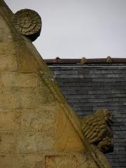 Eglise Saint-Melaine - Français:   Façade sud de l\'église Saint-Melaine de Domalain (35). 4ème chapelle. Pignon. Rampant droit. Détail. Partie haute.