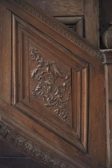 Ancienne abbaye - Intérieur de l'abbatiale Notre-Dame de Paimpont (35). Chaire.