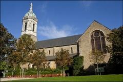 Eglise Notre-Dame-en-Saint-Mélaine - Français:   L\'église Saint-Melaine vue du jardin du Thabor à Rennes
