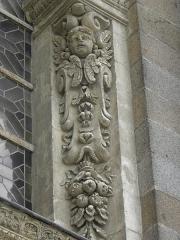 Eglise Notre-Dame-en-Saint-Mélaine - Détail sculpté de la tour-clocher de l'église Notre-Dame en Saint-Melaine de Rennes (35).