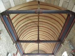Eglise Saint-Georges - Intérieur de l'église Saint-Georges de Saint-Georges-de-Gréhaigne (35). Voûte du chœur vue de l'arc triomphal.