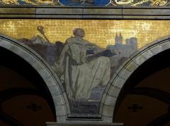 Eglise Sainte-Croix - Église Sainte-Croix de Saint-Servan, commune de Saint-Malo (35)  Fresques peintes par Louis Duveau (Saint-Malo 1818 - Paris 1867) du 13 juin 1854 au 21 mai 1855. Saint-Bernard.