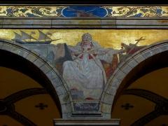 Eglise Sainte-Croix - Église Sainte-Croix de Saint-Servan, commune de Saint-Malo (35)  Fresques peintes par Louis Duveau (Saint-Malo 1818 - Paris 1867) du 13 juin 1854 au 21 mai 1855. Saint-Pie V.