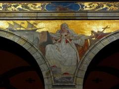 Eglise Sainte-Croix - Français:   Église Sainte-Croix de Saint-Servan, commune de Saint-Malo (35)  Fresques peintes par Louis Duveau (Saint-Malo 1818 - Paris 1867) du 13 juin 1854 au 21 mai 1855. Saint-Pie V.