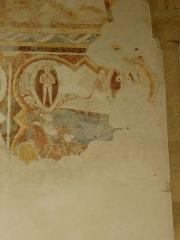 Ancienne abbaye Saint-Méen - Peintures murales de la chapelle Saint-Vincent de l'Abbatiale Saint-Méen de Saint-Méen-le-Grand (35). Costale nord. 3ème travée. Le corps d'Austole est déposé dans le tombeau de Saint-Méen.