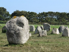 Alignement du Ménec - Detail sur des ménhirs de l'alignement du Ménec près de Carnac dans le Morbihan en France