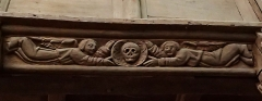 Chapelle Sainte-Barbe et maison du garde - Français:   Détail sculpture bois intérieur