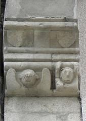Maison datée de 1538 - Français:   Maison inscrite sise 3 rue Georges Le Berd à Josselin (56). Détail du mur pignon gauche.