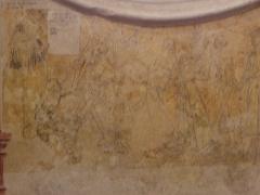 Eglise ou chapelle Notre-Dame - La mort avec le pape, l'empereur et le roi. Fragment de la danse macabre de la chapelle Notre-Dame de Kernascléden (56).