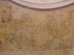 Eglise ou chapelle Notre-Dame - La mort et le pape, l'empereur et le roi. Fragment de la danse macabre de la chapelle Notre-Dame de Kernascléden (56).
