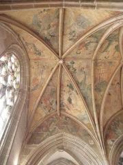 Eglise ou chapelle Notre-Dame - Voûtes de la 3ème travée du chœur de la chapelle Notre-Dame de Kernascléden (56) vues du collatéral nord.