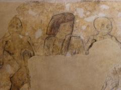 Eglise ou chapelle Notre-Dame - La mort et le bailli. Fragment de la danse macabre de la chapelle Notre-Dame de Kernascléden (56).