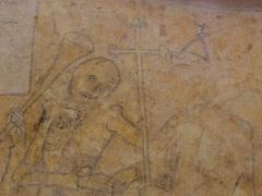Eglise ou chapelle Notre-Dame - La mort et le pape. Fragment de la danse macabre de la chapelle Notre-Dame de Kernascléden (56).