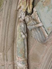 Eglise Sainte-Noyale - Porche sud de l'église Sainte-Noyale de Noyal-Pontivy (56). Intérieur. 2de voussure gauche.