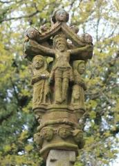 Fontaine Saint-Adrien avec son calvaire - Français:   Fontaine et calvaire Saint-Adrien (Saint-Barthélemy)