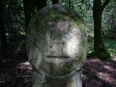 Deux menhirs taillés, dits Babouin et Babouine - Français:   Menhir dit Babouin, Trédion (France, Morbihan)