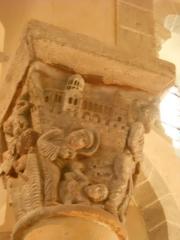 Eglise Saint-Nectaire - Français:   Chapiteau, Église de Saint-Nectaire, Saint-Nectaire, Puy-de-Dôme, France