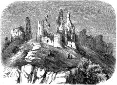 Restes du château -  extrait de La France illustrée, géographie, histoire, administration, statistique, etc., tome I, par V.-A. Malte-Brun.