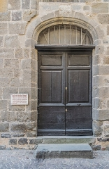Chapelle d'Aurinques - English: Door of the chapel of Notre-Dame d'Aurinques in Aurillac, Cantal, France