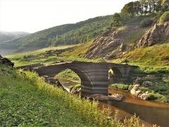Pont de Tréboul - Français:   Pont de Tréboul vu de l\'amont lors de la vidange du barrage de Sarrans en 2014.