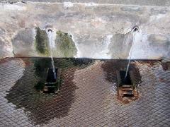 Bassin des Ladres devant l'hôpital Saint-Louis - Català: Les fonts d'on brollen les aigües que omplen la plaça de les termes
