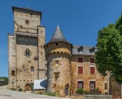 Ancienne grange monastique, dite château de Galinières, et ses annexes - English: Donjon and tower of the castle of Galinières, commune of Pierrefiche, Aveyron, France