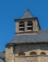 Eglise - English: Bell tower of the Saint Eulalia Church of Sainte-Eulalie-d'Olt, Aveyron, France