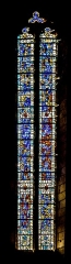 Eglise du Saint-Sépulcre - English: Stained-glass window in the church of the Holy Sepulchre of Villeneuve, Aveyron, France