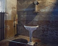 Eglise Saint-Bernard - English:  Bourg-Saint-Bernard, Haute-Garonne, France. St Bernard church. Baptismal font.