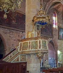 Eglise Notre-Dame de l'Assomption - English:  Grenade, Haute-Garonne, France. Pulpit in gilded wood, painted imitation marble, eighteenth century.