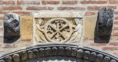 Eglise Saint-Christophe des Templiers - English:  Chi Rho on façade a of the Saint-Christophe-des-Templiers church, twelfth century.; a templar church located in Montsaunes, in Occitanie France.