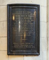Cathédrale Saint-Etienne - English:  Stele of Pierre Paul Riquet, Baron Bonrepos Cathedral Saint-Etienne Toulouse.