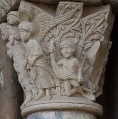 Eglise Saint-Sernin - Chapiteau du péché originel, Porte Miègeville de la basilique Saint-Sernin à Toulouse