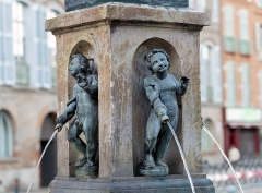 Fontaine - English:  Fountain, St Etienne's place, Toulouse (France). 16th-18th century. Bronze marmosets, melted by Pierre Chevenet in 1593 and restored by Pierre Affre in 1649, reject the water by the jaws of fish that they hold in their hand.