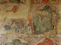Eglise de Vopillon - Peintures murales de l'église Notre-Dame de Vopillon, commune de Beaumont (32). Nativité et annonce aux bergers.