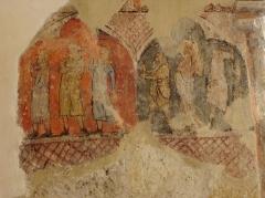 Eglise de Vopillon - Peintures murales de l'église Notre-Dame de Vopillon, commune de Beaumont (32). Reniement de Saint-Pierre et Flagellation.