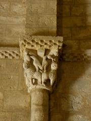 Eglise Saint-Sigismond - Église Saint-Sigismond de Larressingle (32). Chapiteau gauche de la nef.