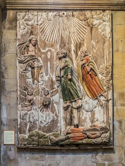 Eglise Saint-Sauveur - English: Polychrome carved wood panel from the late 17th century named