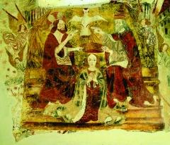 Eglise de Martignac - Nederlands: Fresco in de romaanse kerk Saint-Pierre-ès-Liens te Martignac (Puy-l'Évêque), Lot, Midi-Pyrénées (XIIe - XVe eeuw).