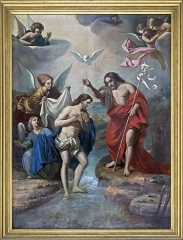 Cathédrale Notre-Dame de l'Assomption - English:  Montauban Cathedral, Tarn et Garonne, France -  Oil on canvas in the chapel of the baptismal fonts:  Baptism of Christ  - after Pierre Mignard nineteenth century.