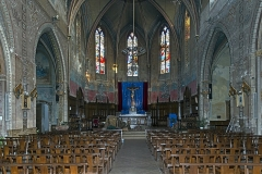 Eglise Notre-Dame de la Visitation - English:  Montech Tarn-et-Garonne, France - Our Lady of the Visitation Church - General view of the interior. Christ on the cross of the main altar is a German work from the fourteenth century.
