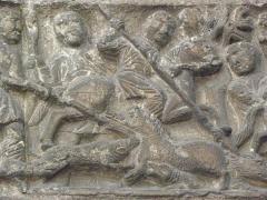 Porte Saint-Ours, provenant de la collégiale Saint-Ursin - Français:   Détail du tympan du portail Saint-Ours de la collégiale Saint-Ursin de Bourges (18).