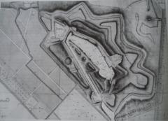 Ancienne forteresse de Montrond - Français:   Plan de la forteresse de château de Montrond vers 1650.