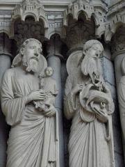 Cathédrale Notre-Dame - Français:   Ébrasement droit du portail central du porche nord de la cathédrale Notre-Dame de Chartres (28). Siméon et Saint-Jean-Baptiste.