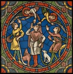 Cathédrale Notre-Dame - Deutsch: Aus der Mappe: Monografie de la Cathedrale de Chartres - Atlas (1867), Glasfenster: Das Leben von Jesus, 12. Jhdt. Detailausschnitt - Originalgröße