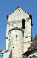 Eglise paroissiale Saint-Médard - Français:   Clocher roman de l\'église St Médard de Chaumussay