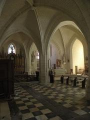 Eglise Saint-Maurice - Français:   Église Saint-Maurice de Crissay-sur-Manse (37). Vue traversante depuis le collatéral nord.
