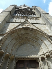 Cathédrale Saint-Gatien - English: Tours cathedral. South transept. Upper part of the portal and facade.